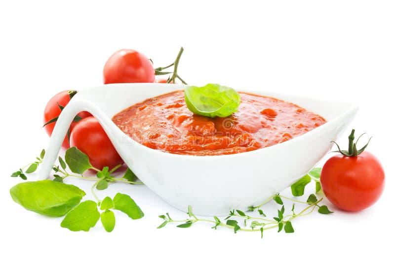 Molho de tomate no branco imagens de stock royalty free