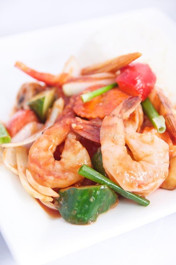 Molho fritado agitação do sweet&sour com arroz do jasmim. imagem de stock royalty free
