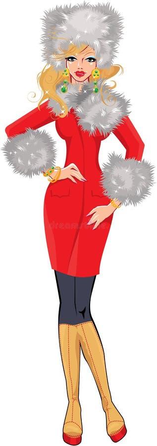 Molho louro bonito da mulher no revestimento vermelho com wh ilustração stock