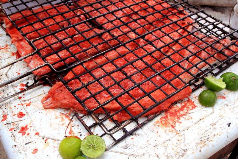 Molho vermelho grelhado do achiote da faixa de peixes maia fotos de stock royalty free