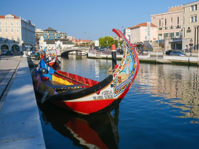 Moliceiro in Aveiro, Centro Region, Portugal. AVEIRO, PORTUGAL - JULY 28, 2016: Moliceiro or Traditional Boat in the Center of Aveiro, Centro region, Portugal stock photos