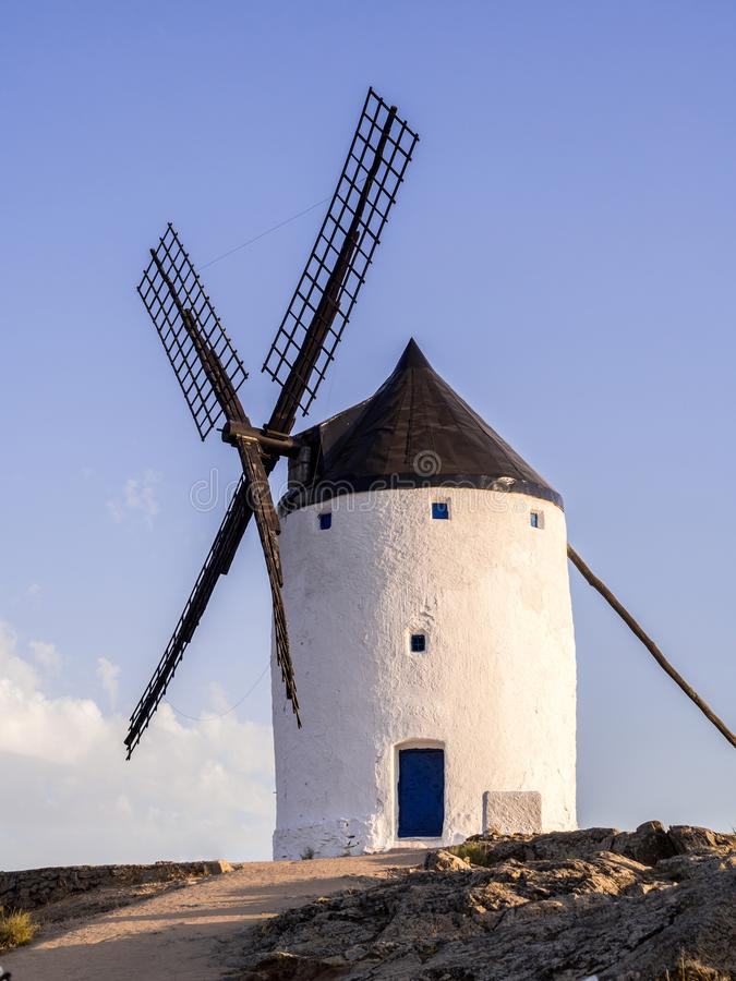 Molino in Castilla La Mancha, Spain. Windmill molino in Consuegra, Toledo Province, Castilla La Mancha, Spain, at sunset stock photo