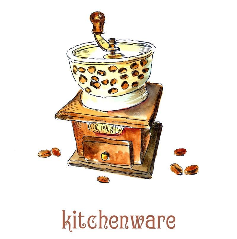 Molino de caf? y granos de caf? watercolor stock de ilustración