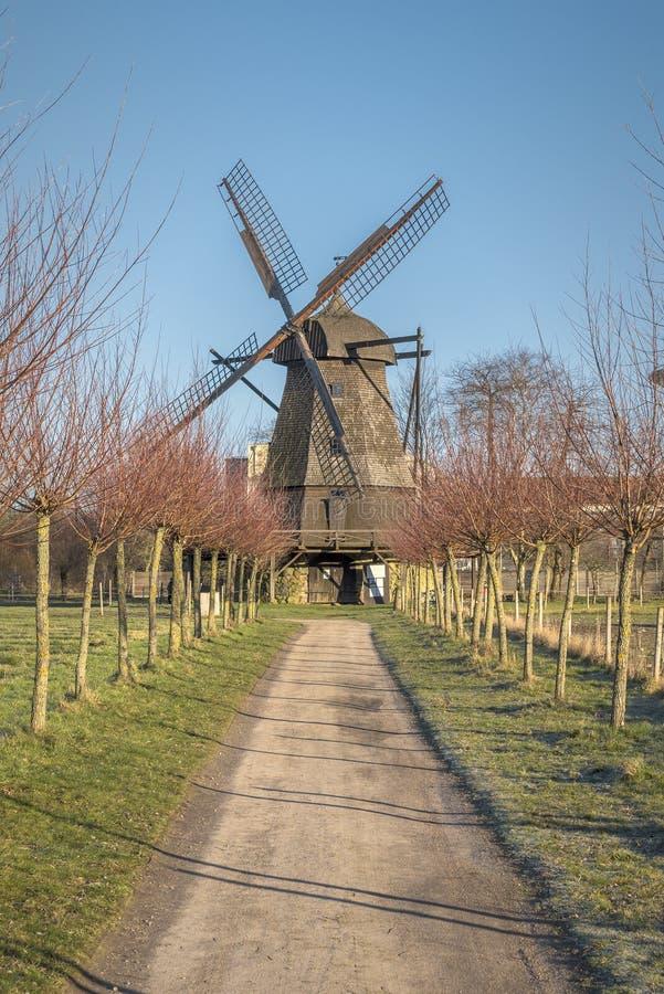 Molino de viento al aire libre del museo de Fredriksdal imagen de archivo libre de regalías