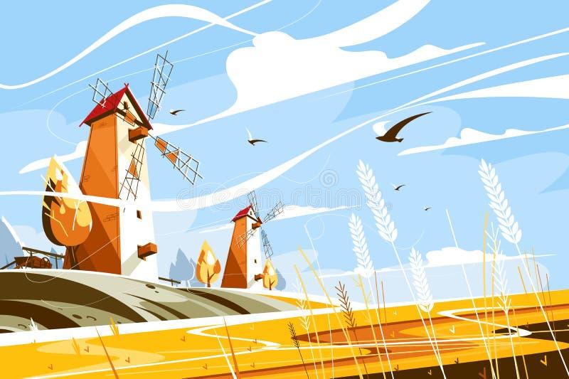 Molino de viento cerca del campo de trigo stock de ilustración