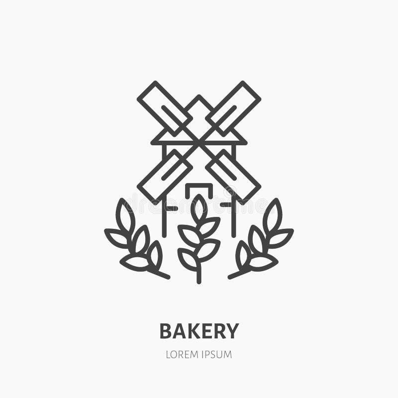 Molino de viento con los oídos del trigo Logotipo de la panadería, línea plana icono ilustración del vector