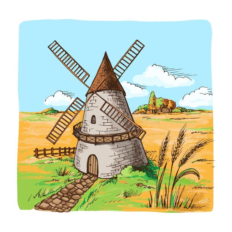 Molino de viento de la acuarela con los campos de trigo ilustración del vector