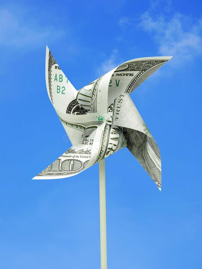 Molino de viento del juguete del dinero de USD imagen de archivo libre de regalías