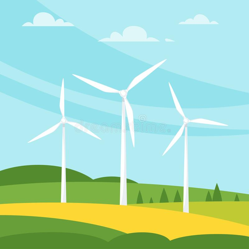 Molino de viento en el prado stock de ilustración