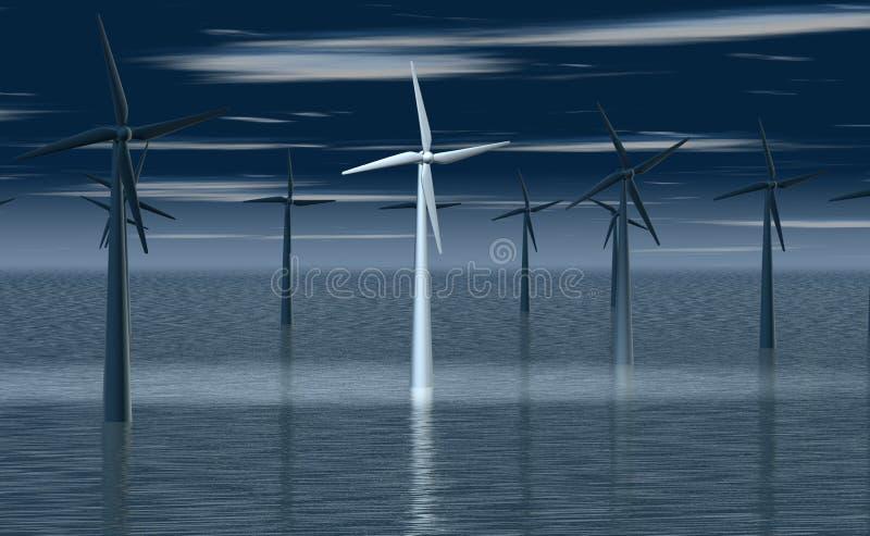 Molino de viento en el proyector ilustración del vector