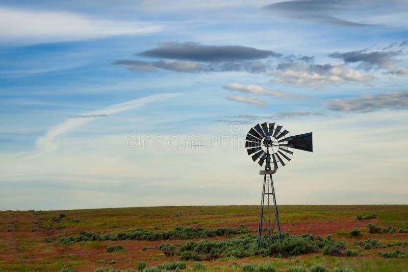 Molino de viento en un campo de la artemisa imagen de archivo libre de regalías