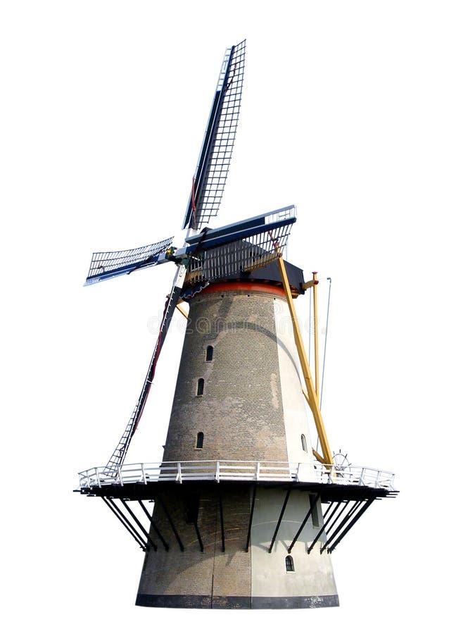 Molino de viento histórico holandés viejo aislado en blanco fotografía de archivo libre de regalías