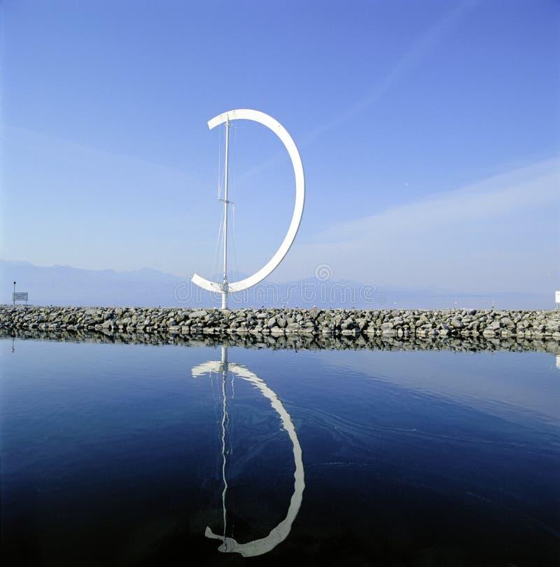 Molino de viento de las ilustraciones del puerto de Suiza Lausanne del paisaje marino fotografía de archivo