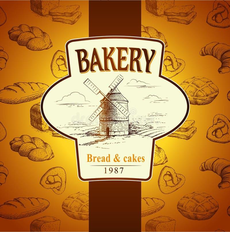 Molino de viento panadería Modelo inconsútil del fondo libre illustration