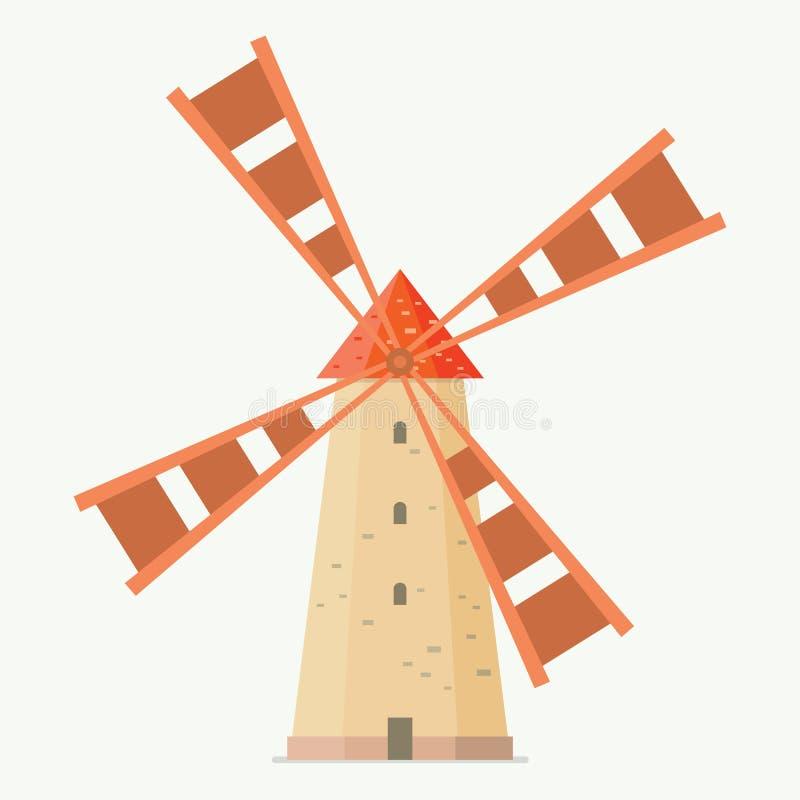 Molino de viento rural en estilo plano libre illustration