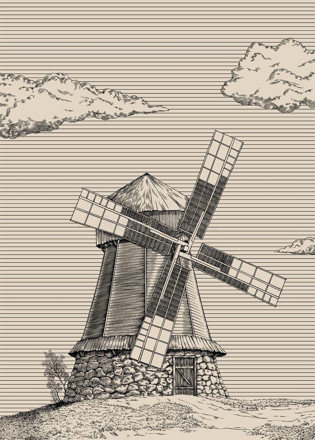 Molino de viento viejo libre illustration
