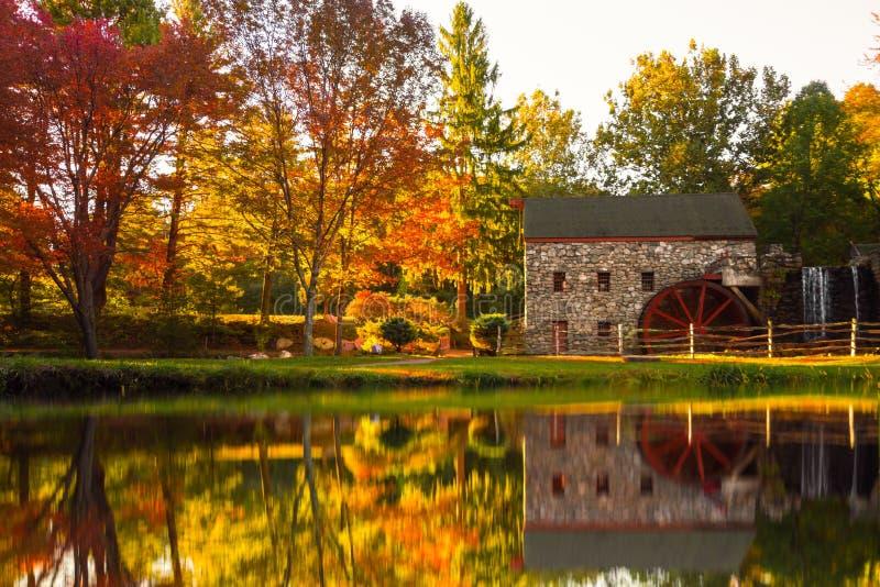 Molino viejo Sudbury Massachusetts del grano para moler foto de archivo