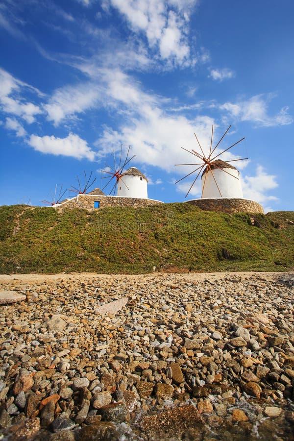 Molinoes de viento de Mykonos imágenes de archivo libres de regalías