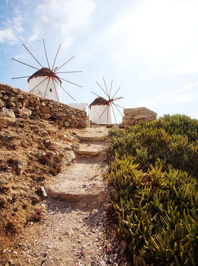 Molinoes de viento de Mykonos fotos de archivo libres de regalías
