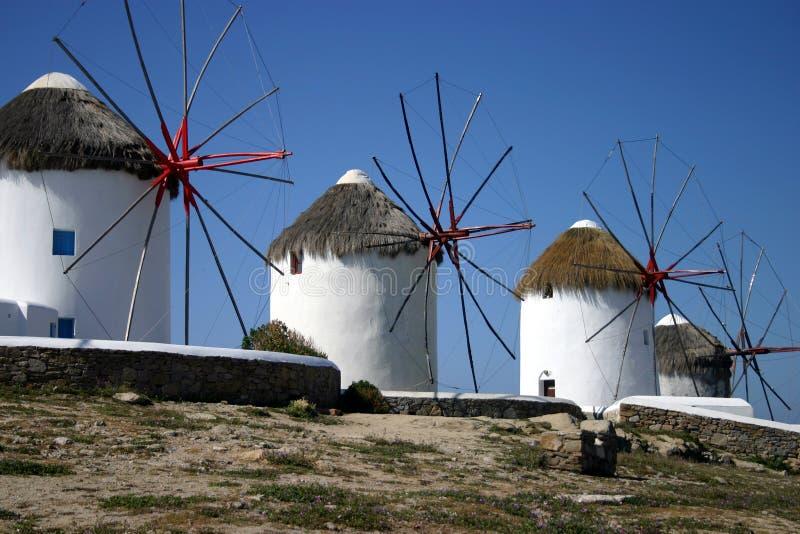 Molinoes de viento de Mykonos fotografía de archivo libre de regalías