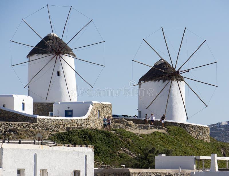 Molinoes de viento de Mykonos, Grecia foto de archivo libre de regalías