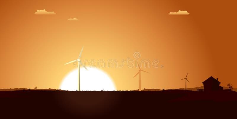 Molinoes de viento dentro del paisaje del verano stock de ilustración