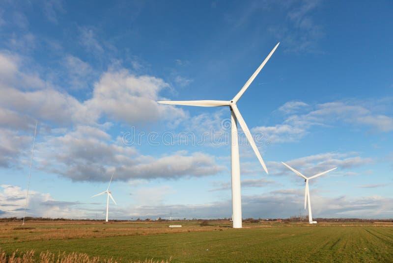 Molinoes de viento en el pantano danés foto de archivo
