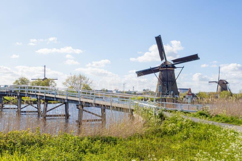 Molinoes de viento en Kinderdijk, Holanda foto de archivo libre de regalías
