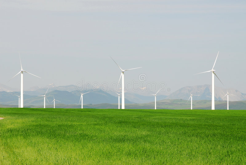 Molinoes de viento en pradera fotografía de archivo libre de regalías