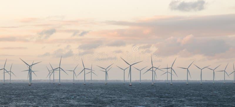 Molinoes de viento de la costa de Dinamarca foto de archivo libre de regalías