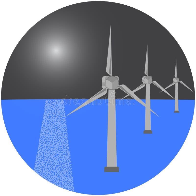 Molinoes de viento modernos en el mar Ilustración del vector fotos de archivo
