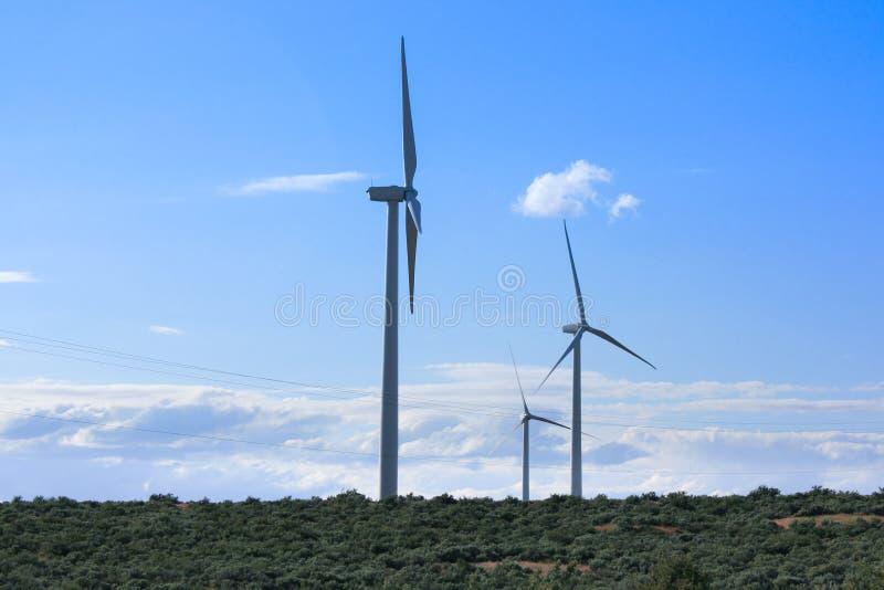 Molinoes de viento que alcanzan hacia el cielo fotos de archivo libres de regalías