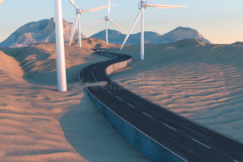 Molinoes de viento y carretera con curvas en el abierto, representaci?n 3d ilustración del vector
