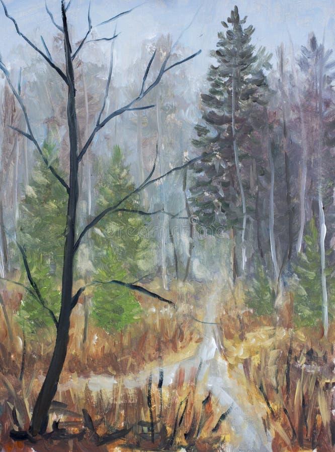 Molla in anticipo in autunno tardo della foresta Foresta, alberi, cespugli, betulle, alberi di Natale illustrazione di stock