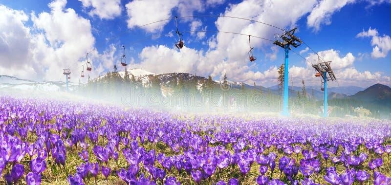 Molla Chornogory dello ski-lift fotografia stock