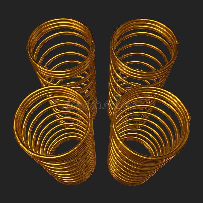 Molla 3d dell'oro illustrazione vettoriale