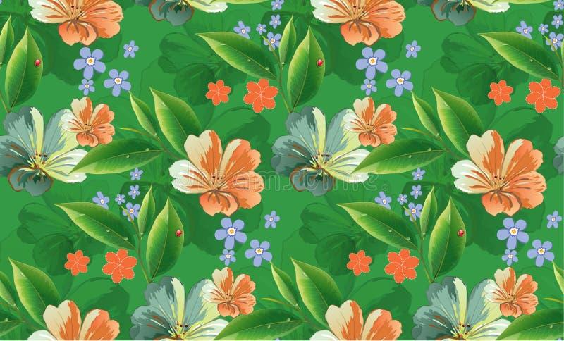 Molla floreale verde senza cuciture illustrazione vettoriale