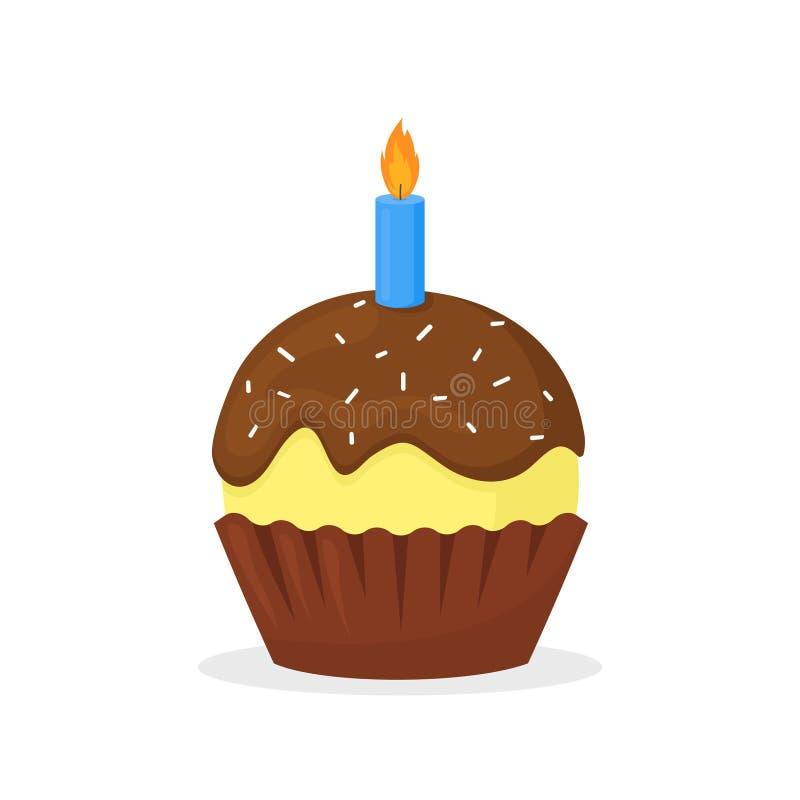 Mollete con froasting y la vela del chocolate Icono plano dulce del vector de la magdalena de la comida, del día de fiesta o del  libre illustration