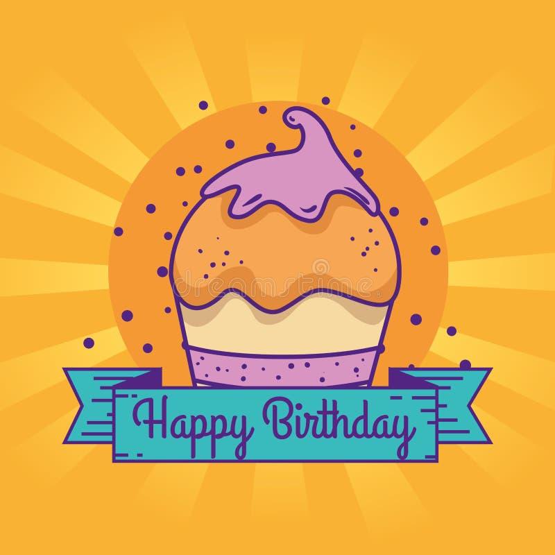 Mollete con la cinta para celebrar feliz cumpleaños ilustración del vector