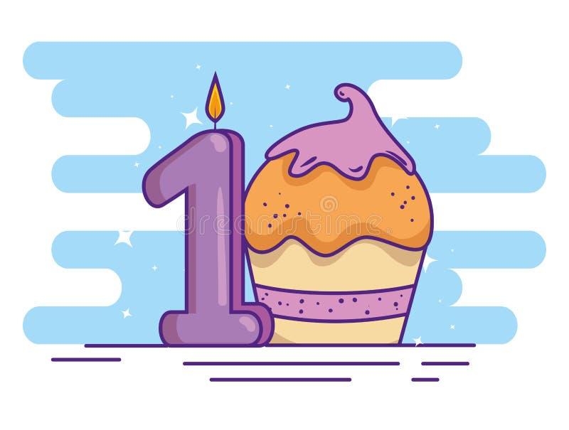 Mollete del feliz cumpleaños con la vela número uno stock de ilustración