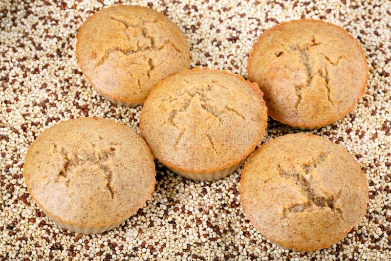 Molletes hechos en casa de la quinoa El gluten libera las magdalenas fotos de archivo libres de regalías