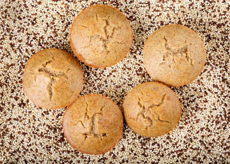 Molletes hechos en casa de la quinoa El gluten libera las magdalenas imagenes de archivo