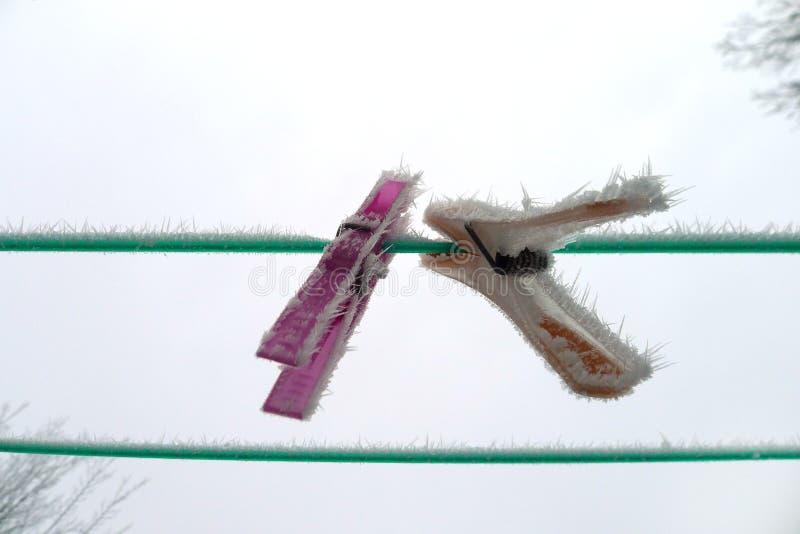 Mollette da bucato congelate immagine stock