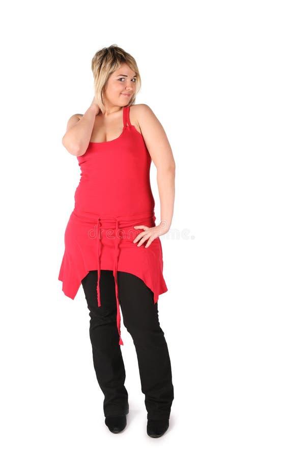 Mollig rood meisje stock foto's