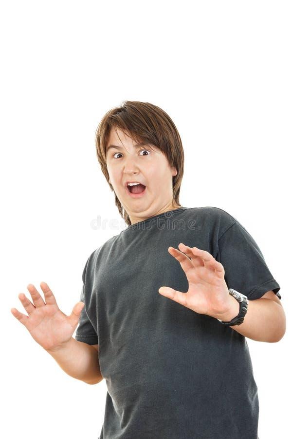 Molliges Kind oder Junge, welche die Überraschung hält sein Hand-widespre gestikuliert lizenzfreie stockbilder