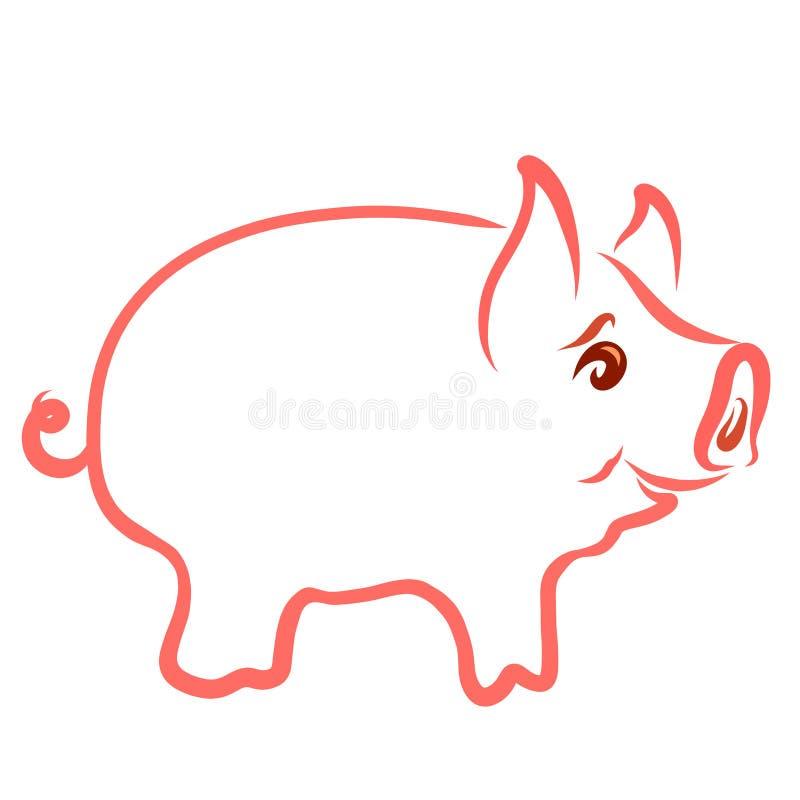 Molliges kleines nettes Schwein, lustiges Tier, Kontur lizenzfreie abbildung