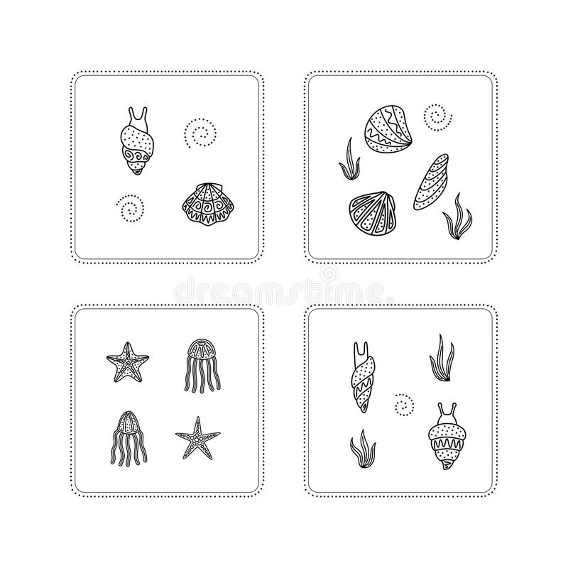 Mollusk, ośmiornica, rozgwiazda ilustracja wektor