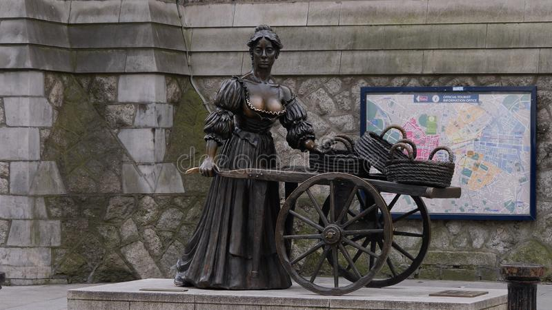 Molly Malone statue in Dublin, Ireland. Famous bronze statue of the fish seller, popular with tourists stock photo