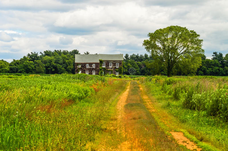 Molly Pitcher Landscape. The historic Molly Pitcher Home in Monmouth Battlefield State Park in Freehold NJ stock photo