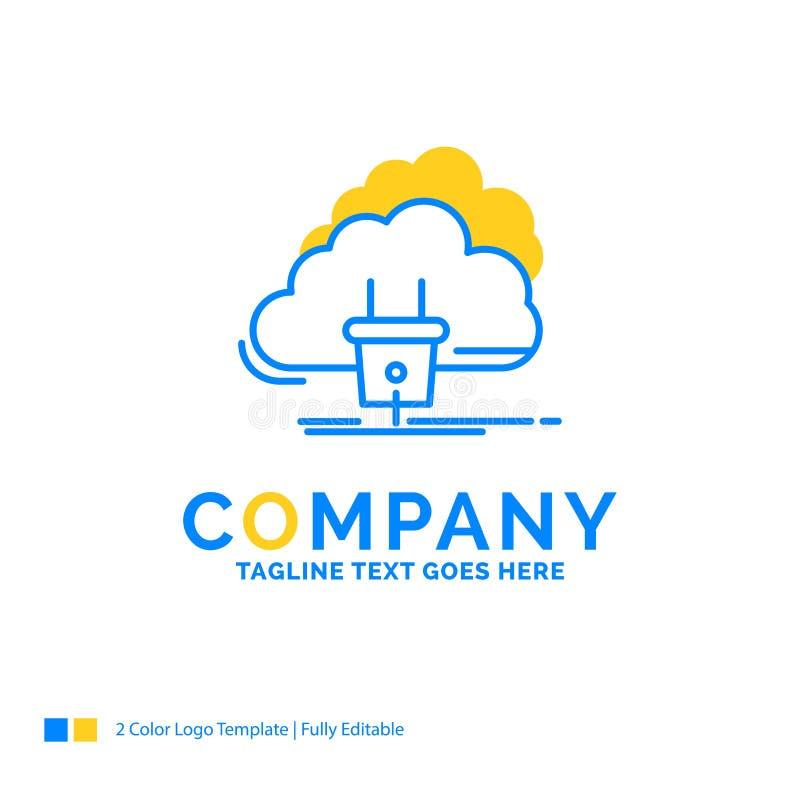 Moln anslutning, energi, nätverk, blå gul affär L för makt stock illustrationer